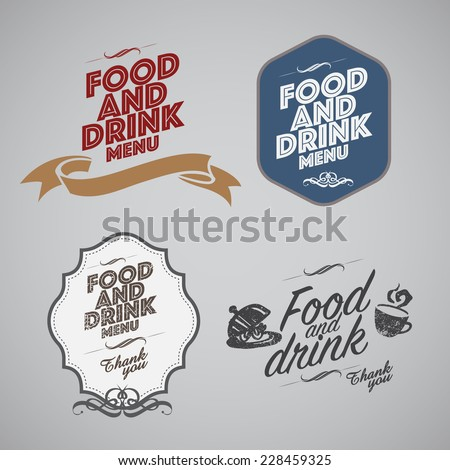 Set of vintage retro labels, stamps, ribbons, marks and calligraphic design elements, vector - stock vector