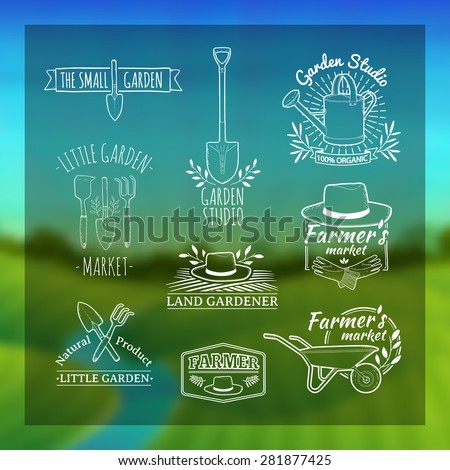 Set of vintage retro logos, badges, badges, labels. Shop garden, farm, organic garden. Blurred background with landscape of green meadows, the river and the sunrise. Vector. - stock vector