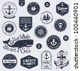Set of vintage retro nautical badges and labels - stock photo