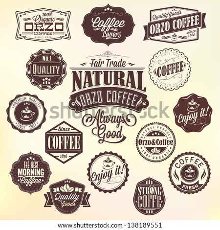 Set Of Vintage Retro Orzo Coffee Labels, decoration collection, calligraphic and typographic elements styled design, frames. Vector.