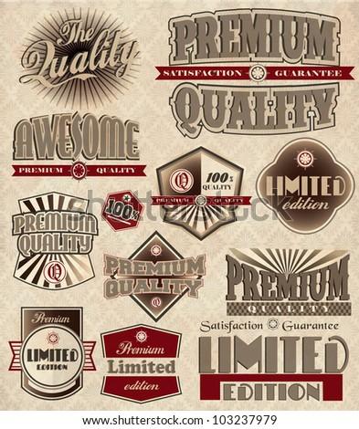 Set of vintage retro premium quality - stock vector