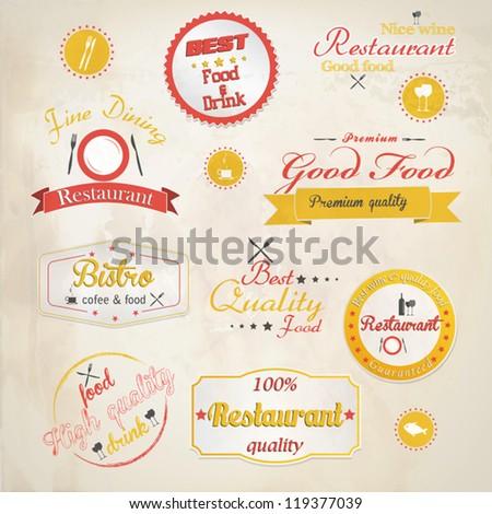 Set of vintage retro restaurant badges. Vector - stock vector