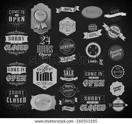 Set of vintage retro, ribbon label in different styles/ old style - stock vector