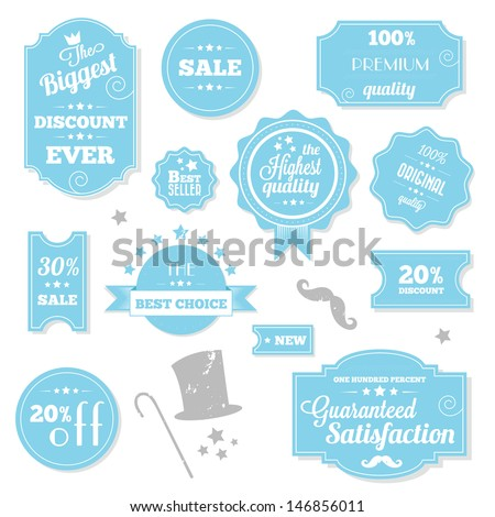 Set of Vintage Retro Stickers Labels and Ribbons Blue - stock vector