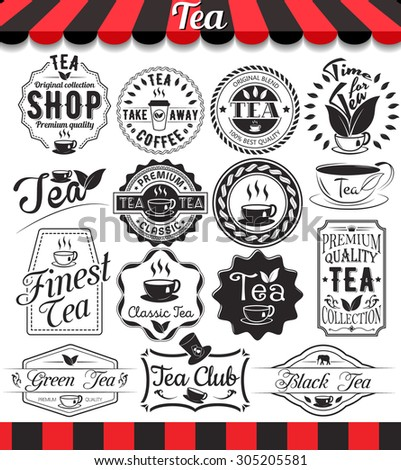 "Set of vintage retro tea elements styled design, frames, vintage labels and badges.See more in set ""Labels"" of my portfolio - stock vector"