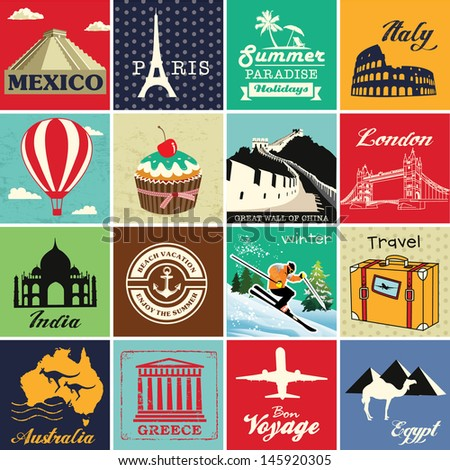 Set of vintage retro vacation and travel label cards and symbols - stock vector