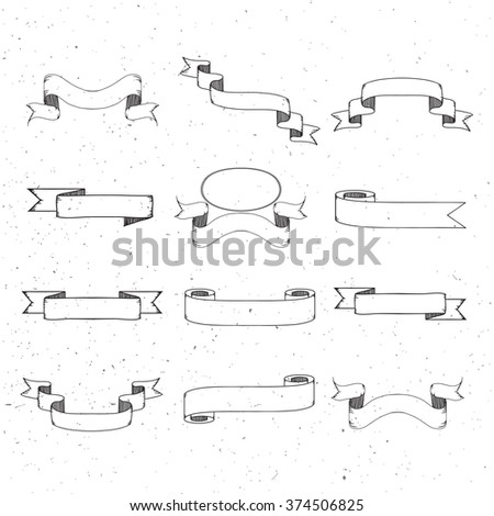 Set of vintage ribbon banner vector. Hand drawing style.
