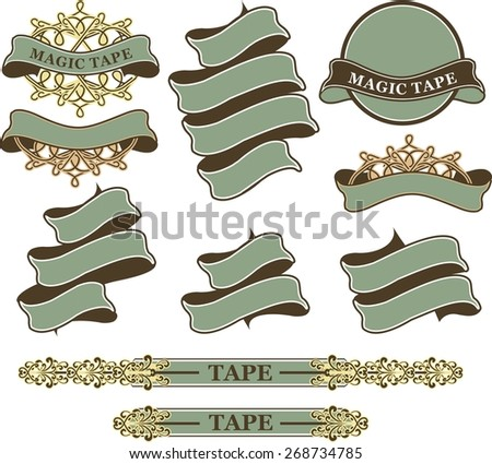 set of vintage ribbons and banners in retro style on a white background - stock vector