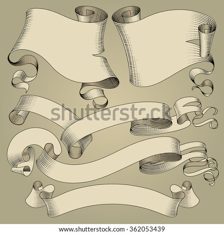Set of vintage ribbons and flags in engraving drawing style. Vector illustration - stock vector