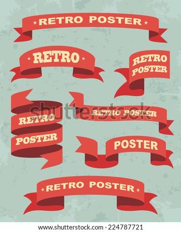 Set Of Vintage Ribbons Background. Vector illustration - stock vector