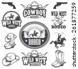 Set of vintage rodeo emblems, labels, logos, badges and designed elements. Wild West theme. Monochrome style