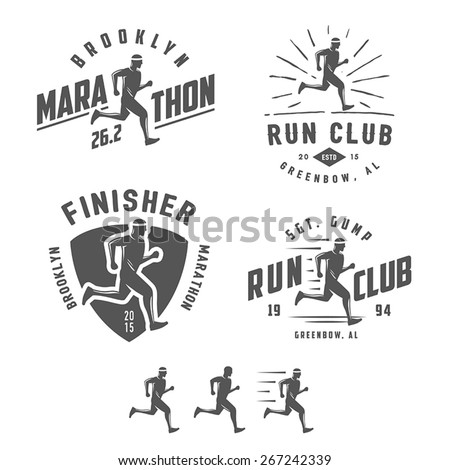Set of vintage running club labels, emblems and design elements - stock vector