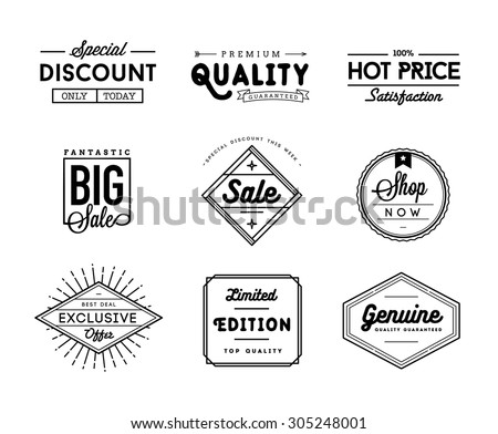 set of vintage sale and commerce badges, vector illustration - stock vector