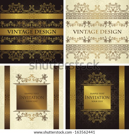 Set of vintage seamless backgrounds with decorative ribbons. Seamless wallpaper    - stock vector