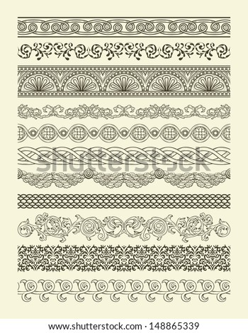 Set of vintage seamless borders - stock vector