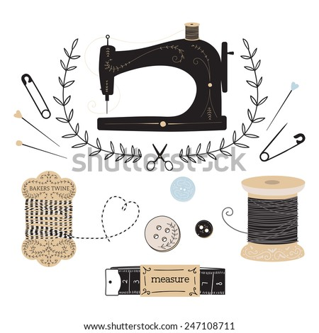 set of vintage sewing and tailor objects - stock vector