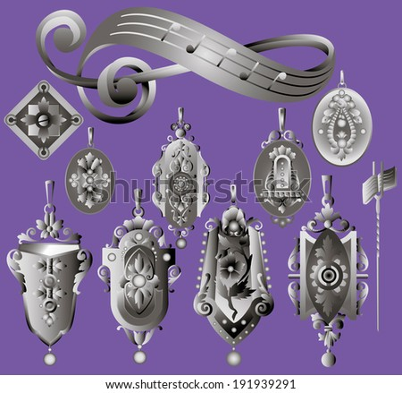 Set of vintage silver jewerly