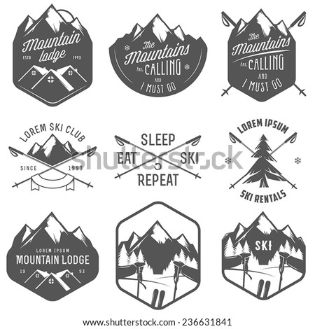 Set of vintage skiing labels and design elements - stock vector