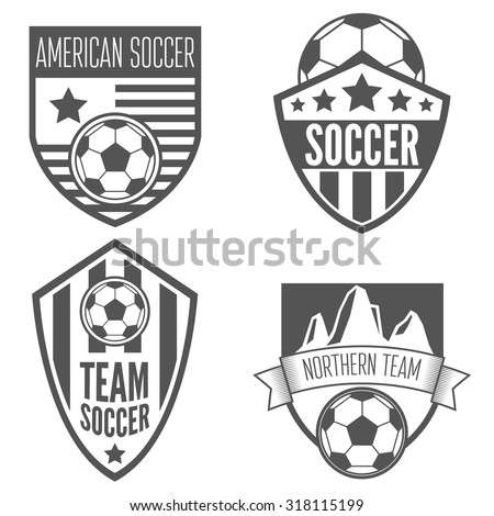 Set of vintage soccer football labels, emblem and logo designs - stock vector