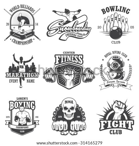 Set of vintage sports emblems, labels, badges and logos. Monochrome style - stock vector