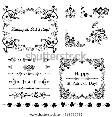Set of Vintage St. Patrick`s day frames. Celebration background with clover and place for your text. Decoration set - lots of calligraphic elements. Vector Illustration   - stock vector