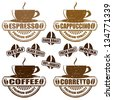 Set of vintage stamps with different types of coffee, vector illustration - stock vector