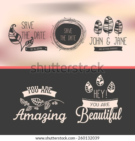 Set of vintage stickers - stock vector