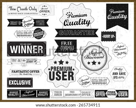 Set of vintage stickers, tags or labels for your business on grungy white background. - stock vector