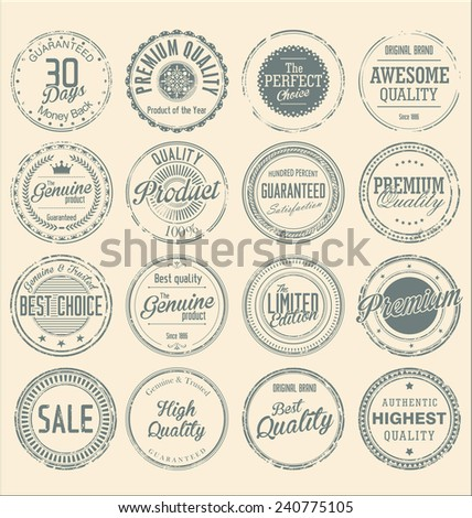 Set of vintage style grunge circular stamps - stock vector