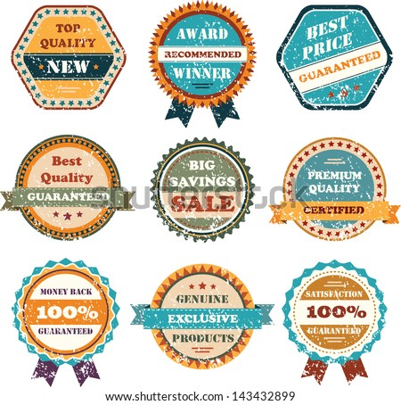 Set of vintage style labels with ribbon elements and textured effect