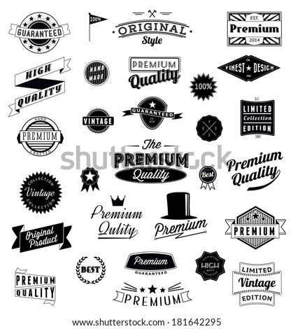 Set of Vintage styled design logo icons and banners. Vector graphic - stock vector