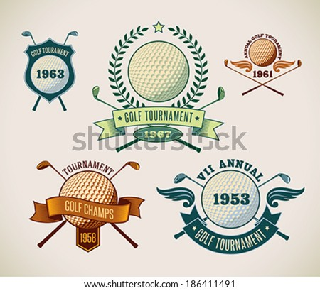 Set of vintage styled golf tournament labels. Editable vector illustration. - stock vector