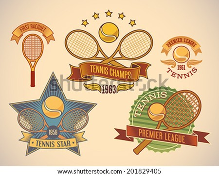Set of vintage styled tennis tournament labels. Editable vector illustration. - stock vector