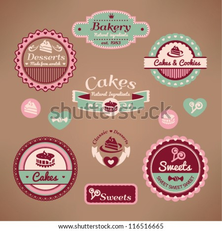 Set of vintage styled various labels - stock vector
