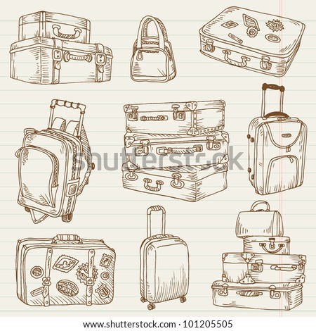 Set of Vintage Suitcases - for design and scrapbook in vector - stock vector