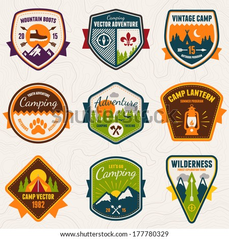 Set of vintage summer camp badges and outdoors logo emblems