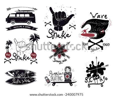 Set of vintage surfing and skateboarding. Labels, badges and design elements. - stock vector