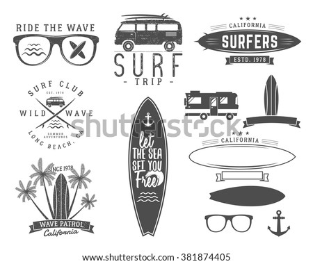Set of Vintage Surfing Graphics and Emblems for web design or print. Surfer, beach style logo design. Surf Badge. Surfboard seal, elements, symbols. Summer boarding on waves. Vector hipster insignia. - stock vector