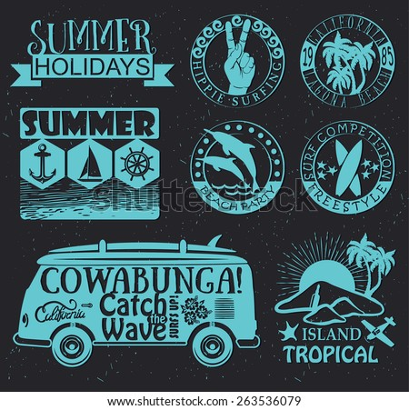 Set of Vintage Surfing Graphics and Summer Emblems - stock vector