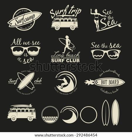 Set Of Vintage Surfing Logos Labels Badges And Design Elements