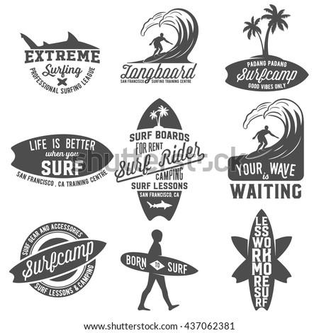 Set of vintage surfing logotypes, badges, quotes and emblems. Surfer, beach style logo design. Surf Badge. Surfboard seal, elements, symbols. Summer boarding on waves.  - stock vector