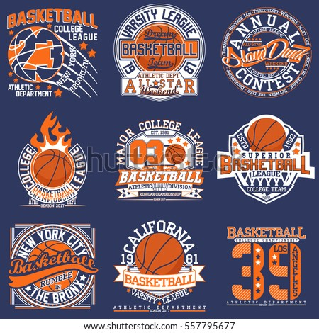 Set vintage tshirt graphic designs creative stock vector for Retro basketball t shirts