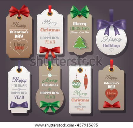 Set of vintage tags with silk bows - stock vector