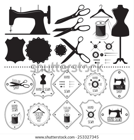 Set of vintage tailor emblems and elements - stock vector