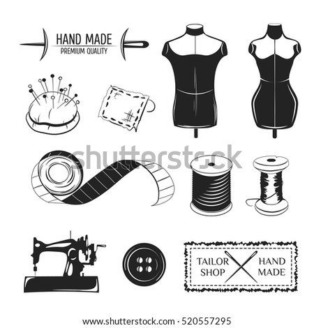 Set of vintage tailor labels, emblems and designed elements. Tailor shop theme. Isolated