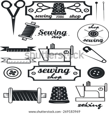 Set of vintage tailor labels, sewing workshop - stock vector