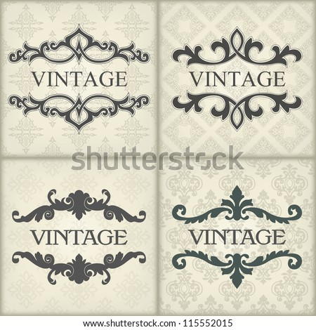 Set of vintage template with floral frame - stock vector