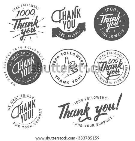 Set of vintage Thank you badges, labels and stickers - stock vector