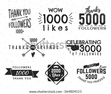 Set of vintage Thank you badges. Social media Followers labels and likes stickers. Handwriting lettering with hipster elements - ribbons, frames, sunbursts, beard. Vector design on retro background - stock vector