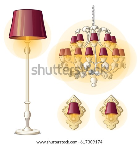 Set Vintage Source Interior Lighting Isolated Stock Vector (Royalty ...